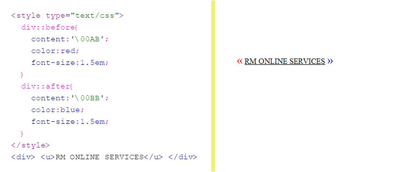การใส่ css entities code ::before ::after